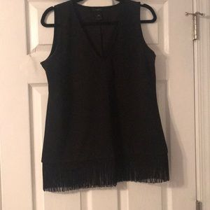 black work tank with fringe on bottom